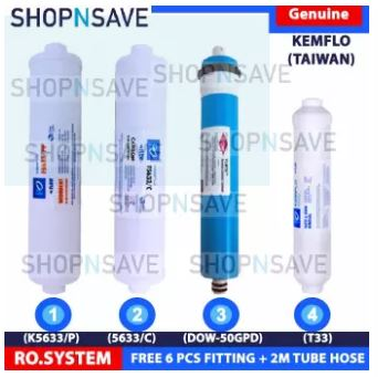 SHOPNSAVE KEMFLO RO FILTERS RO SYSTEM REPLACEMENT CARTRIDGES WATER PURIFIER 1 PC RO MEMBRANE 50GPD, 1 PC 5633 SEDIMENT PP FILTER, 1 PC, 5633/C Carbon,1 PC T33 CARBON FILTER IDEAL for elken, cuckcoo, coway, OEM RO Water Purifier System