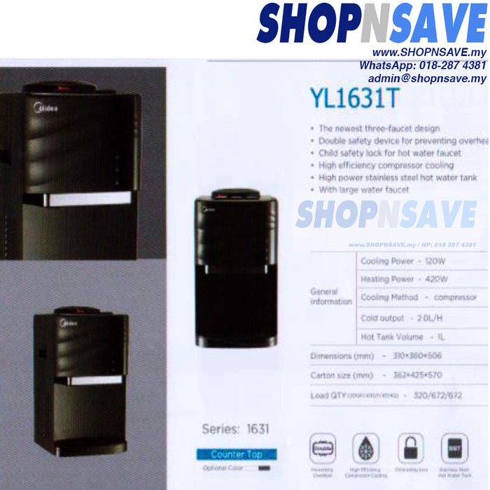 Midea YL1631T Hot Cold Ambien Water Dispenser with 4 Korea Water Purifier, Counter-Top - SHOP N' SAVE effortless Shopping!