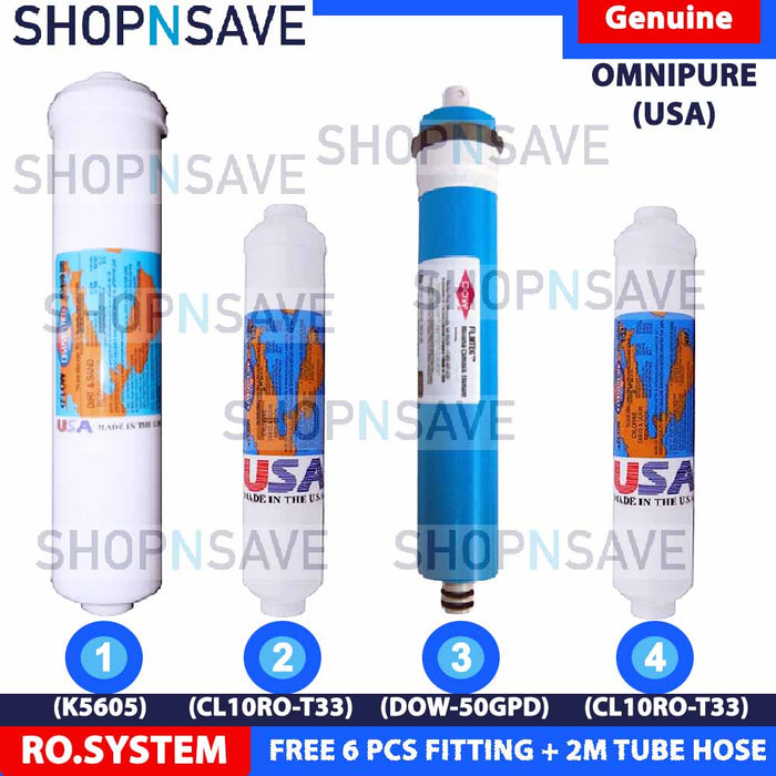 SHOPNSAVE RO INLINE WATER FILTER CARTRIDGE, RO WATER FILTER, ELKEN FILTER, COWAY FILTER, CUCKOO FILTER for all conventional ro water filters system, RO Water Filters Set, OmniPure 1 x Sediment, 2 x Activated Carbon, 1 x FilmTec RO Membrane 50 GPD