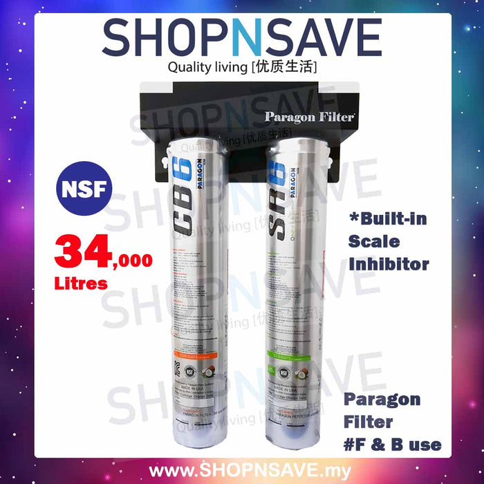 Paragon Filters CB6+SR6 Water Filtration System High Capacity under counter/counter-top system Ideal for *Commercial Use - SHOP N' SAVE effortless Shopping!