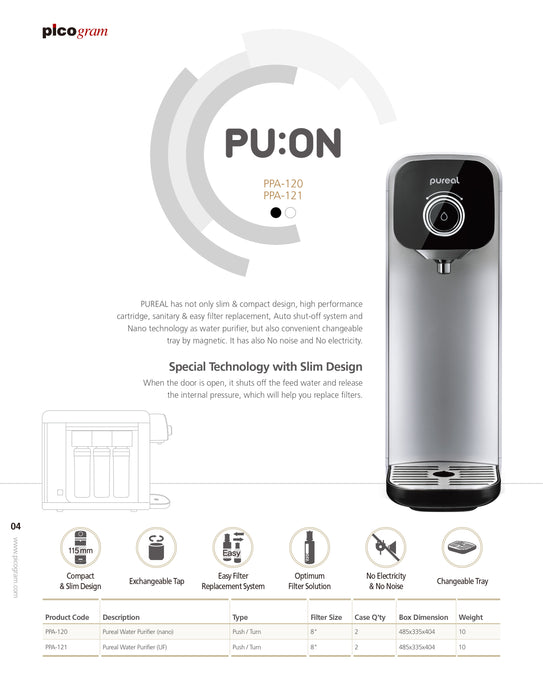 Korea Pureal PPA100 Counter Top Water Purifier System, Nano technology, Antibacterial, Heavy Metals Removal, Quick change design - SHOP N' SAVE effortless Shopping!
