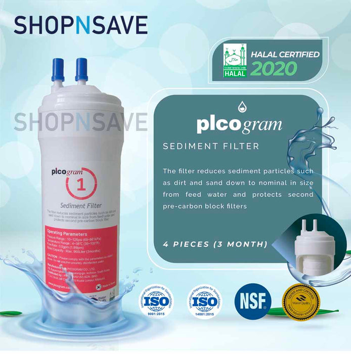 "Picogram Korea Filters Cartridge for cuckoo FUSION, 4 PCS, 8"" Ultra-Fine Water Filtration System, Korea Halal Certified High-Quality Korea Picogram Replacement Cartridges"