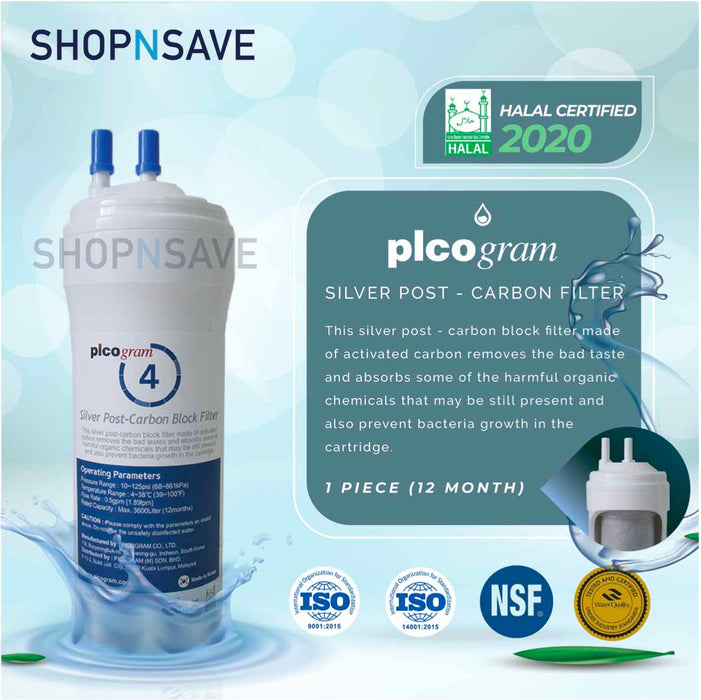 "Picogram Korea Filters Cartridge for cuckoo XCEL, 4 PCS, 8"" Ultra-Fine Water Filtration System, Korea Halal Certified High-Quality Korea Picogram Replacement Cartridges"