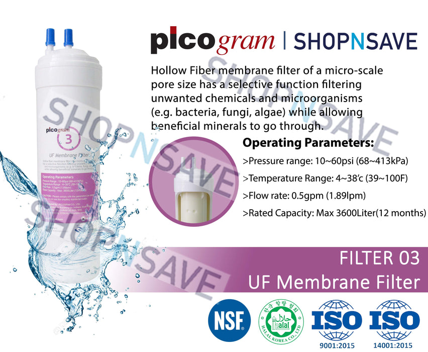 "Picogram Korea Filters Cartridge for coway PETIT CHP-06DL , 6 PCS, 19cm, 8"" Ultra-Fine Water Filtration System, Korea Halal Certified High-Quality Korea Picogram Replacement Cartridges"