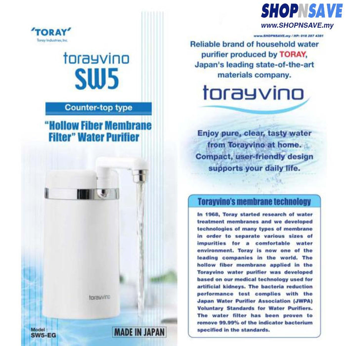 Japan Torayvino Counter Top Water Purifier, SW5-EG, Water Filter System, Counter Top - SHOP N' SAVE effortless Shopping!