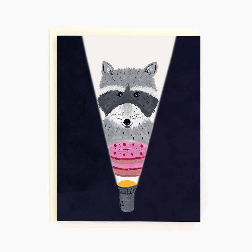 Raccoon with Cake Card