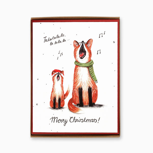 Box of 8 Singing Foxes Christmas Cards