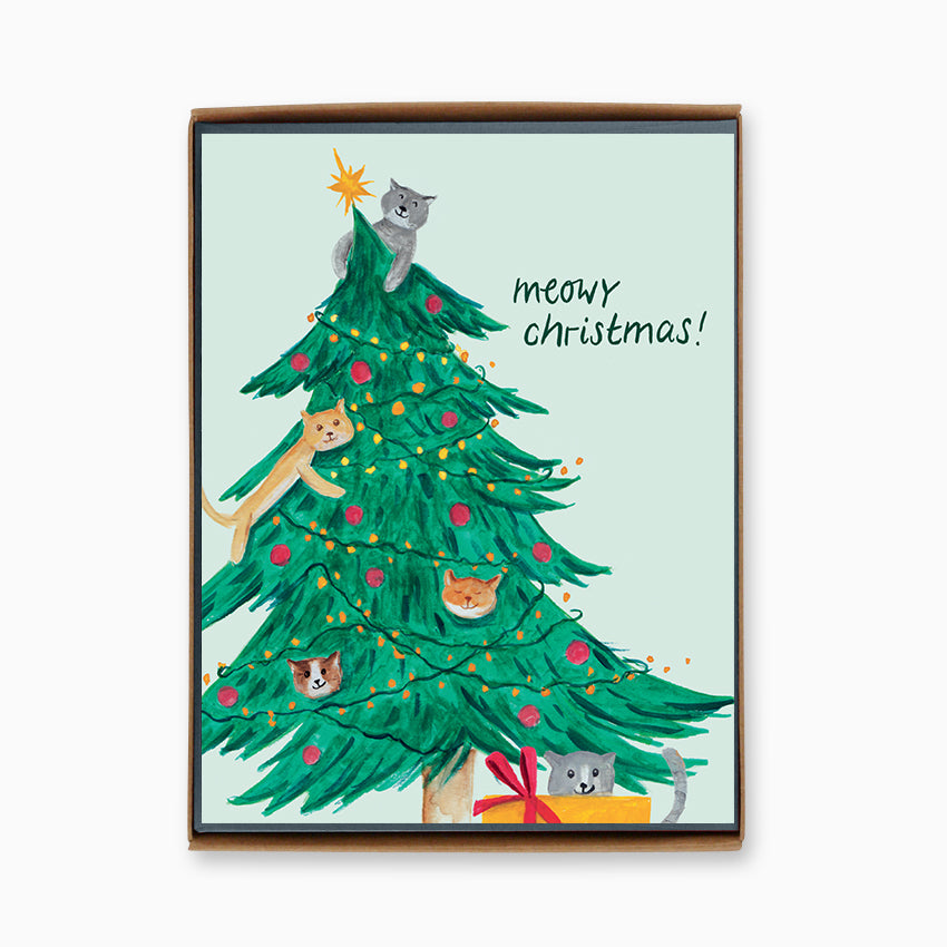 Box of 8 Cats in Christmas Tree Cards