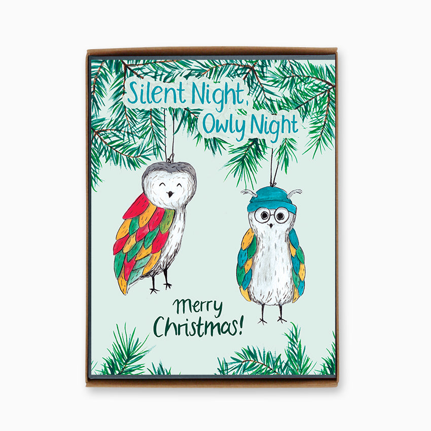 Box of 8 Silent Night, Owly Night Cards