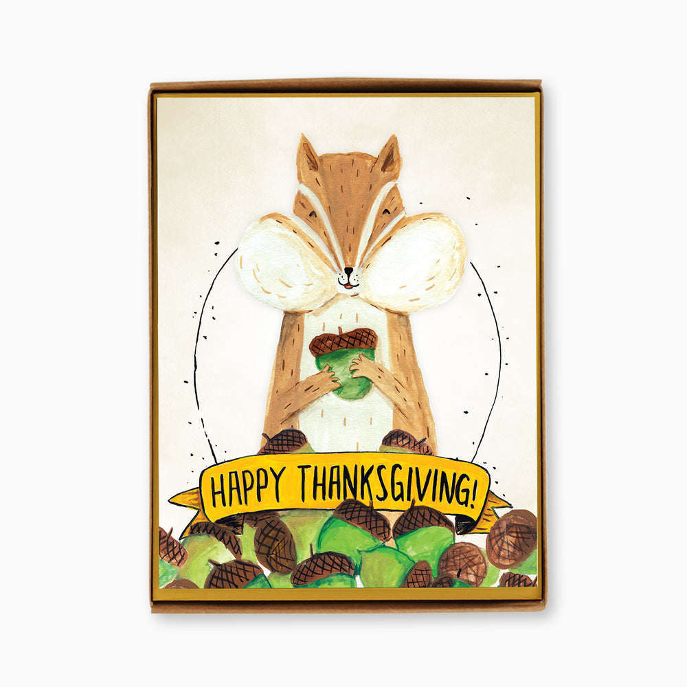 Box of 8 Thanksgiving Chipmunk Cards