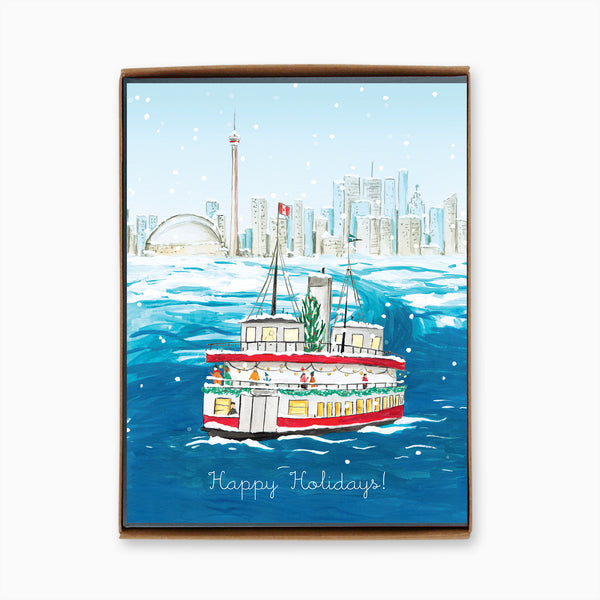 Box of 8 Toronto Island Ferry Holiday Cards