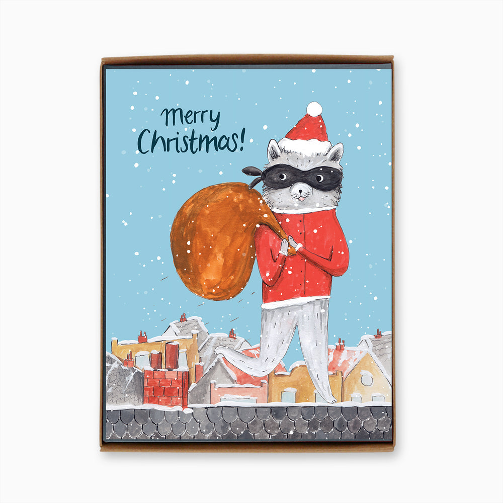 Box of 8 Holiday Raccoon Cards