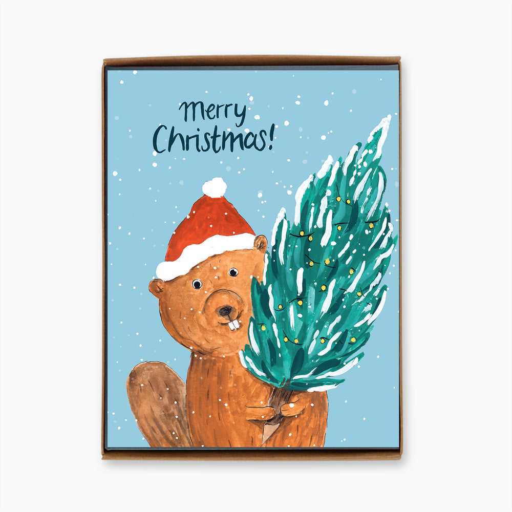 Box of 8 Holiday Beaver Cards