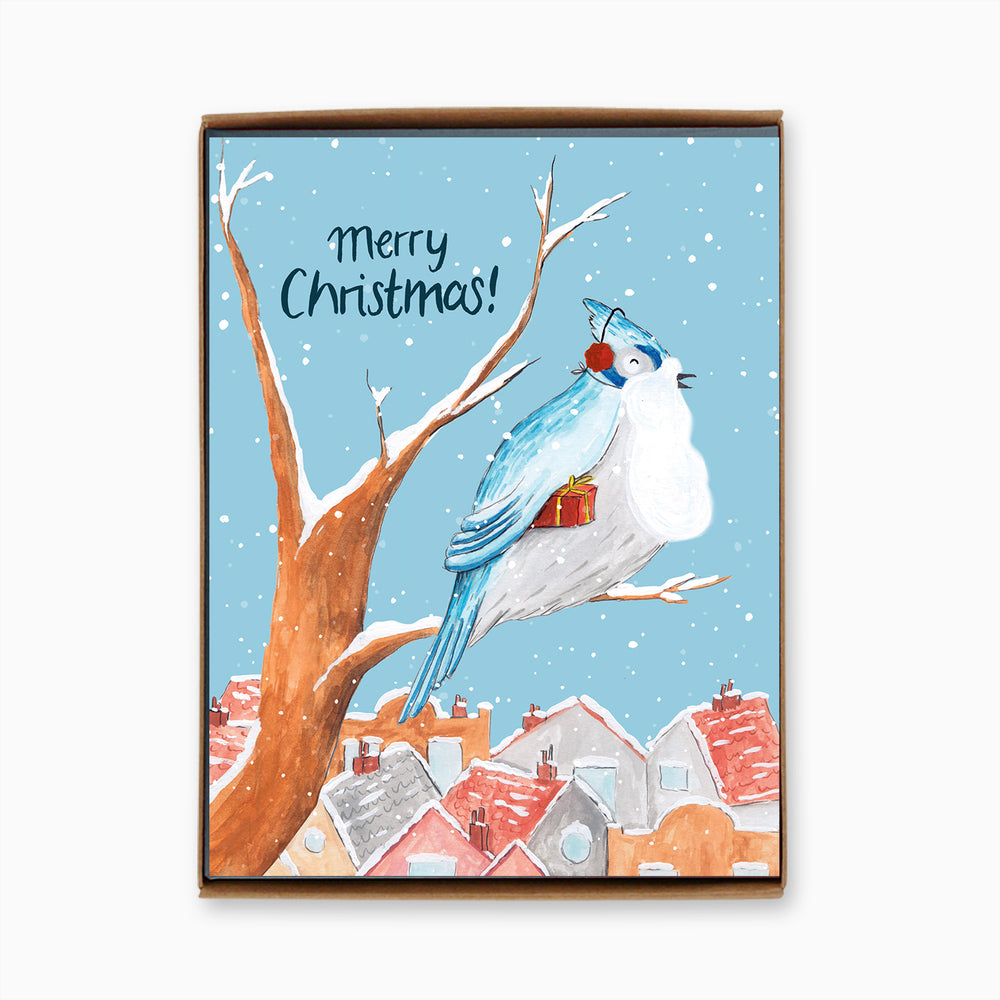 Box of 8 Holiday Blue Jay Cards