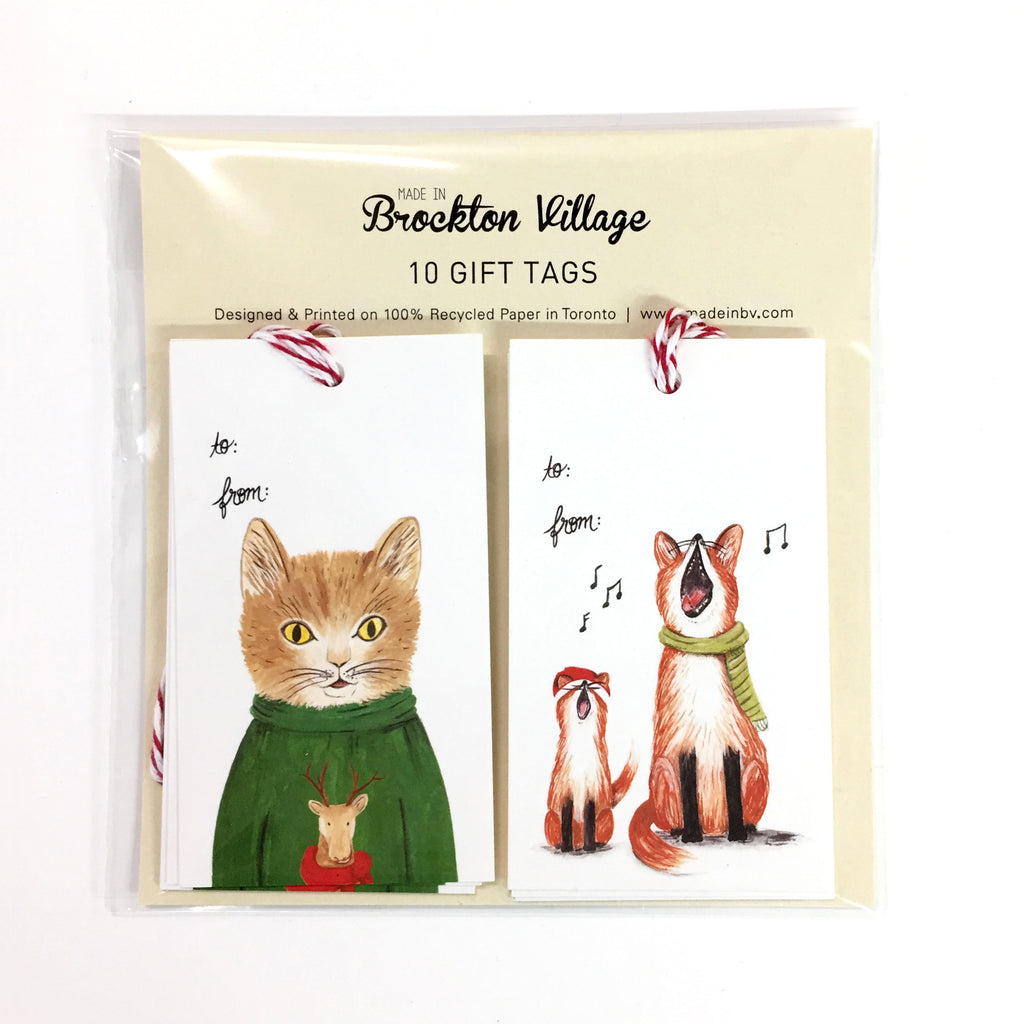 Gift Tags Singing Foxes &  Sweater Cat