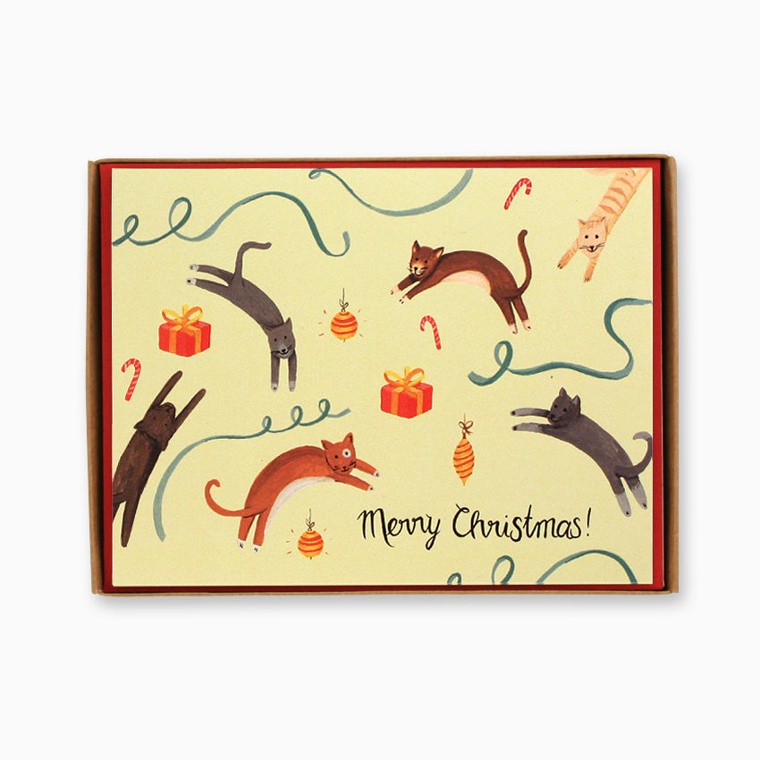 Box of 8 Jumping Cats Christmas Cards