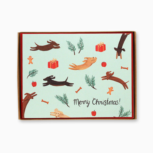 Box of 8 Jumping Dogs Christmas Cards