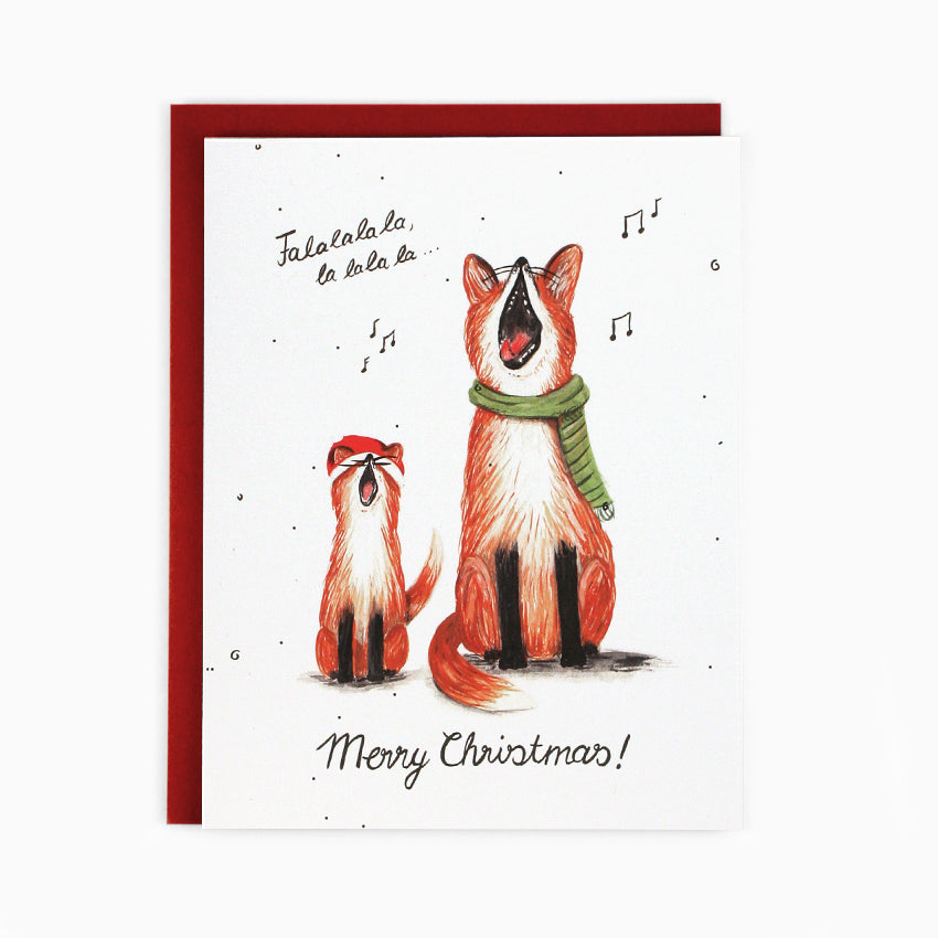Singing Foxes Christmas Card