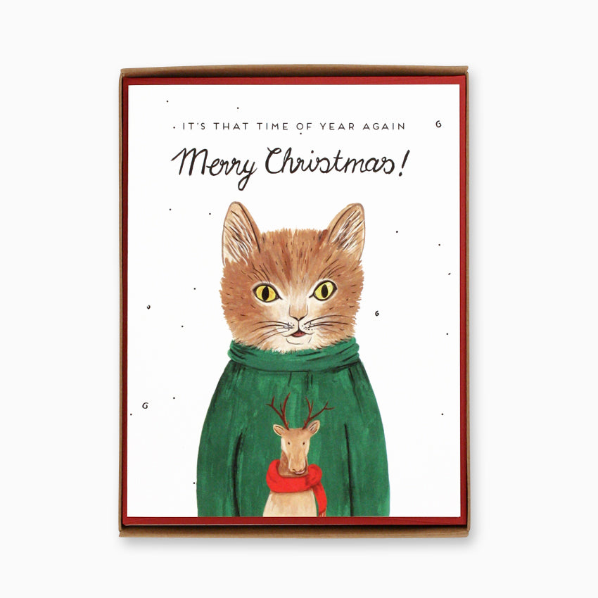 Boxed Cat Christmas Cards.Box Of 8 Sweater Cat Christmas Cards