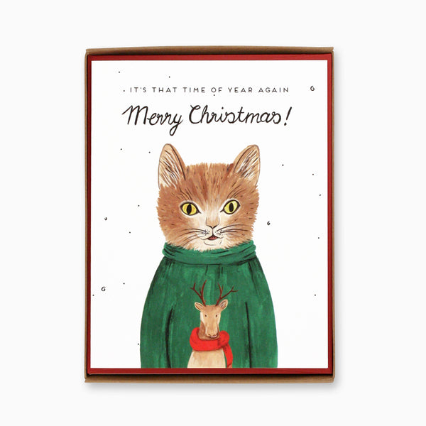 Box of 8 Sweater Cat Christmas Cards