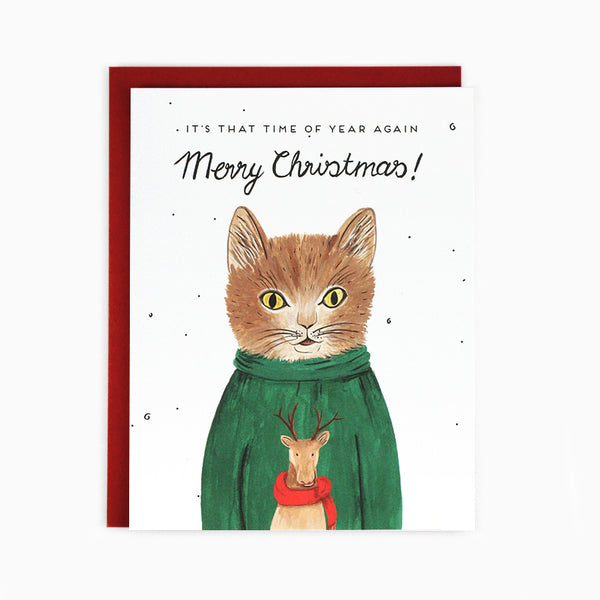 Sweater Cat Christmas Card
