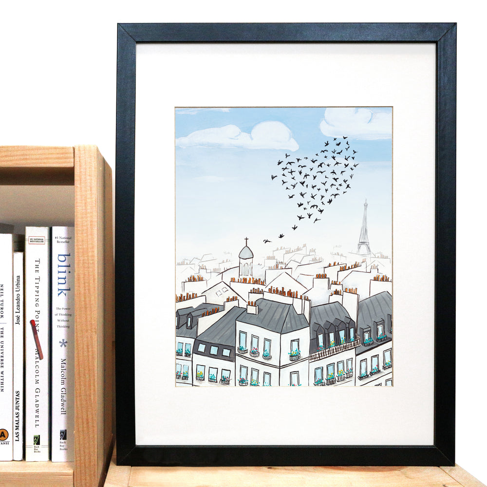 Paris Rooftops & Birds Print