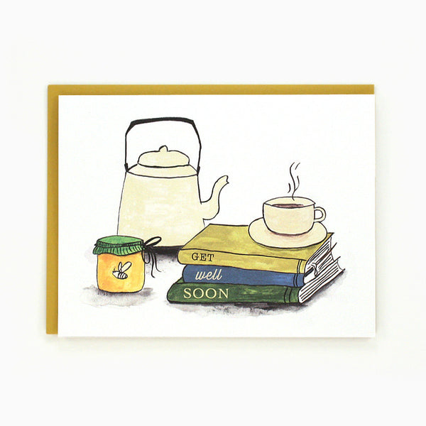 Get Well Soon! Tea & Books Card