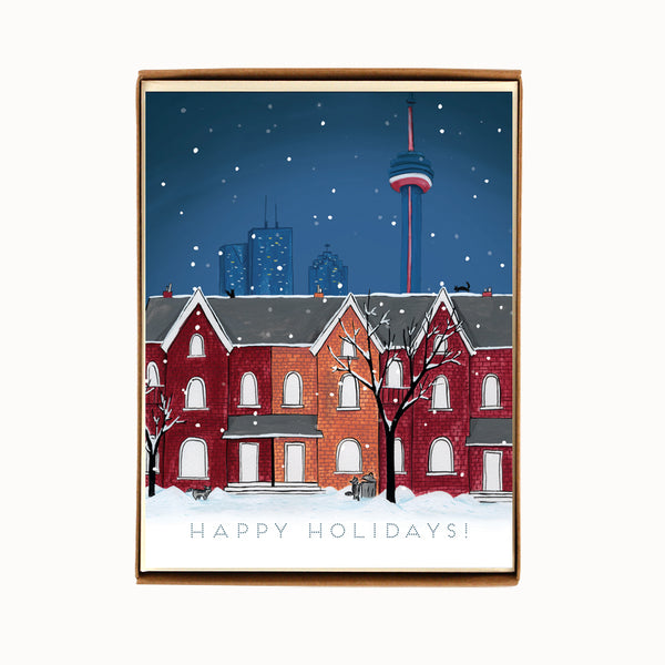 Box of 8 Toronto Night Scene Holiday Cards