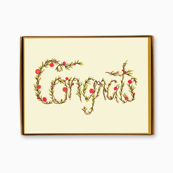Box of 8 Floral Congrats Cards