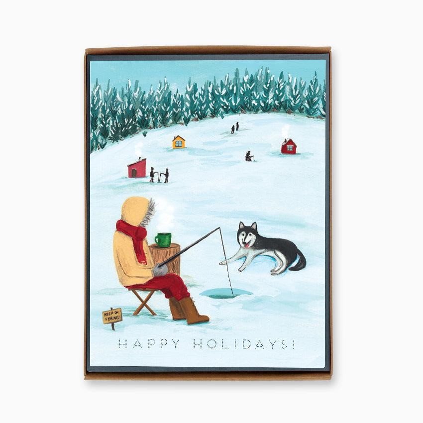 Box of 8 Holiday Ice Fishing Cards