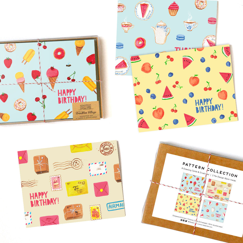 Assorted Box Of 8 Fun Bright Pattern Greeting Cards