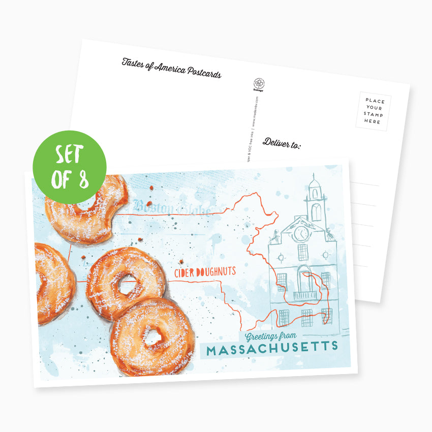Greetings from Massachusetts Postcard - Set of 8
