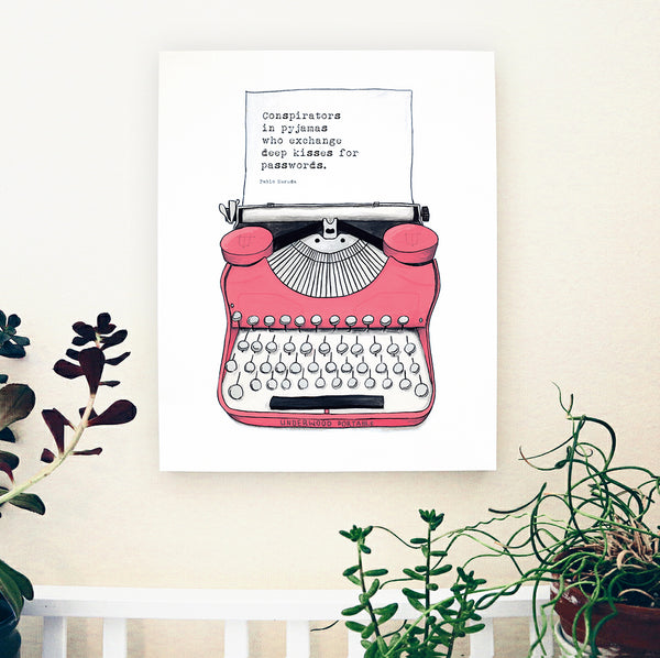 Pink Typewriter Wood Panel