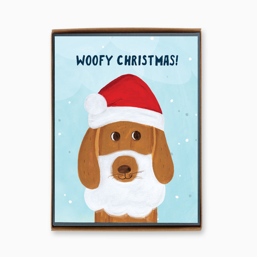 Box of 8 Santa Dog Christmas Cards