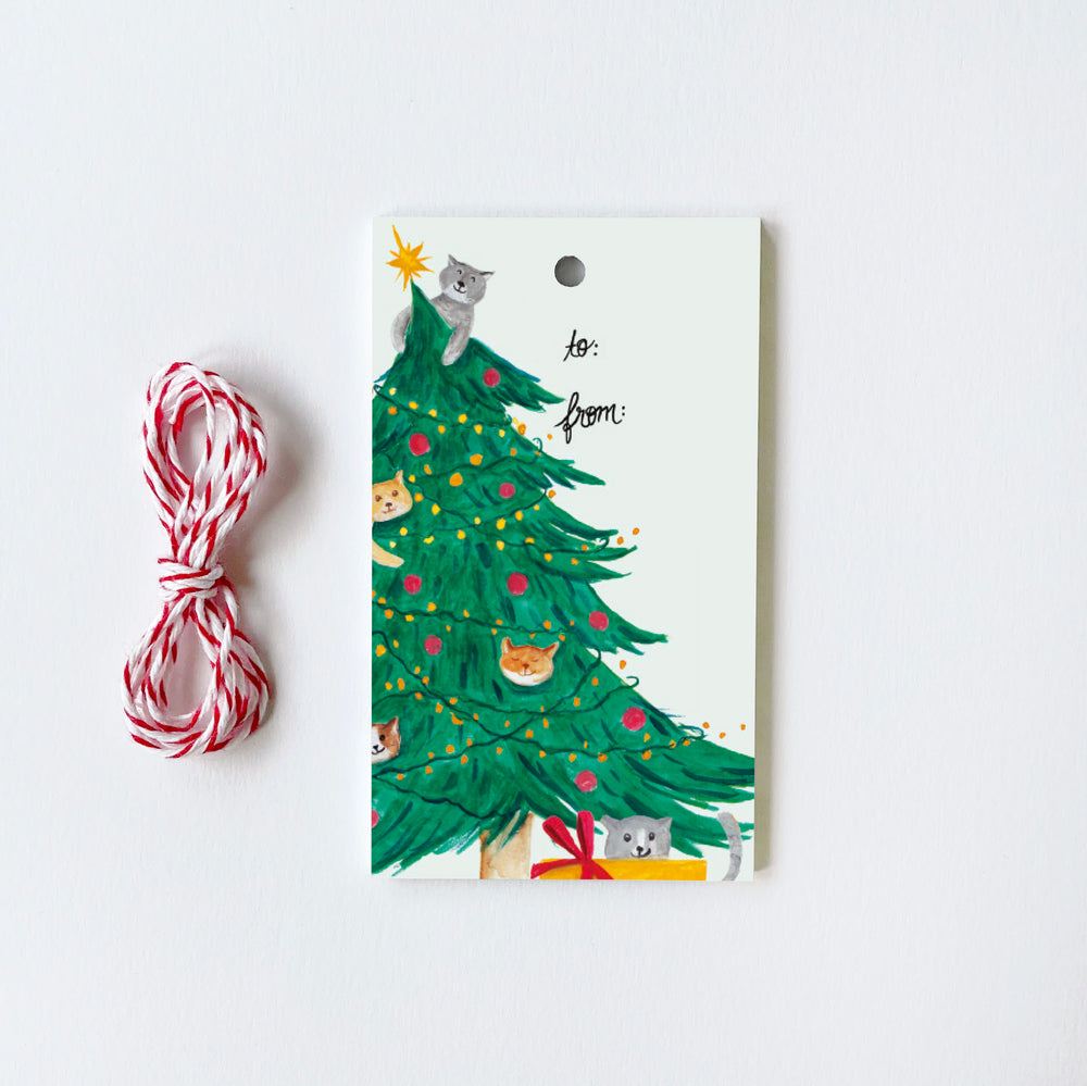 Cats in Tree - 10 Gift Tags