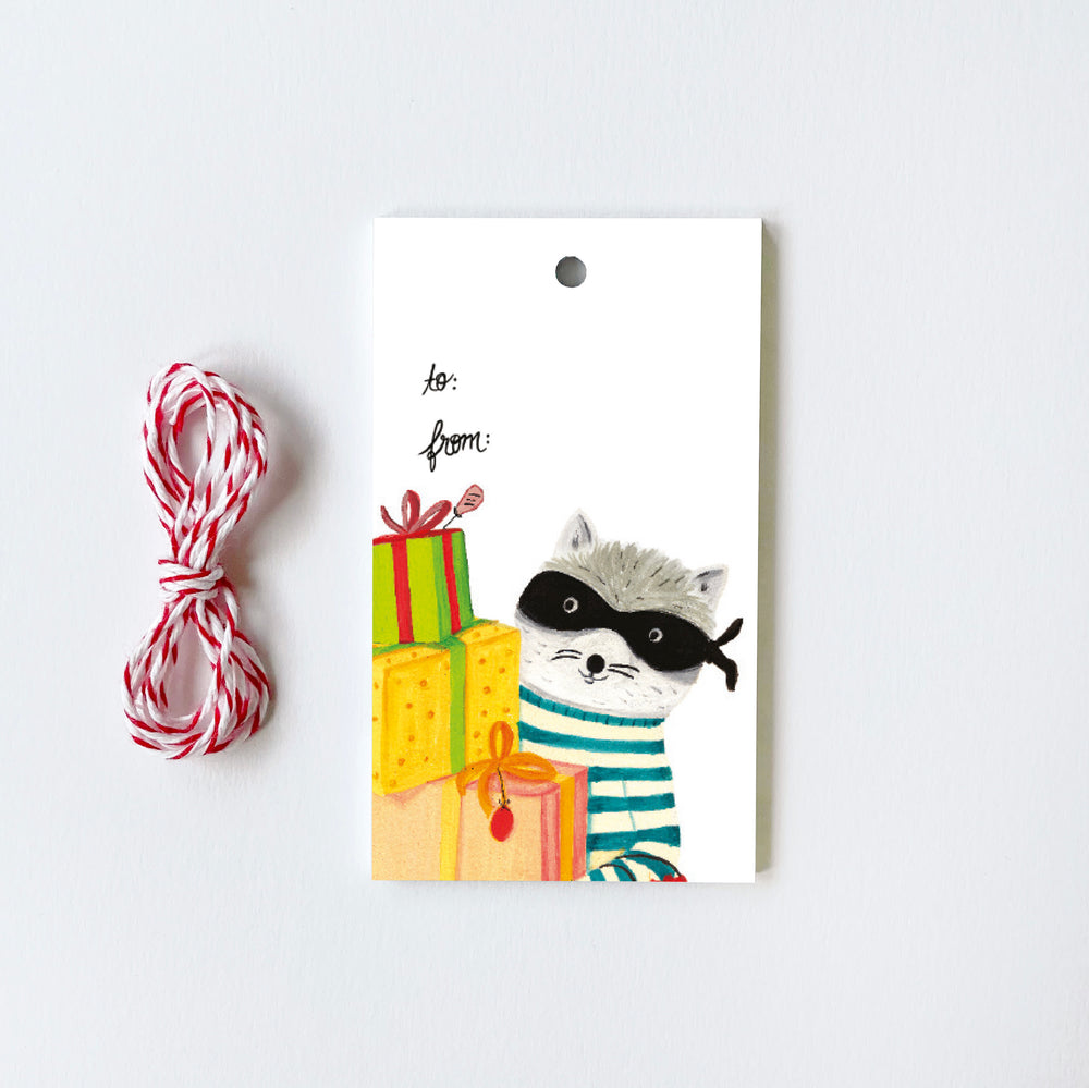 Raccoon with Gifts - 10 Gift Tags