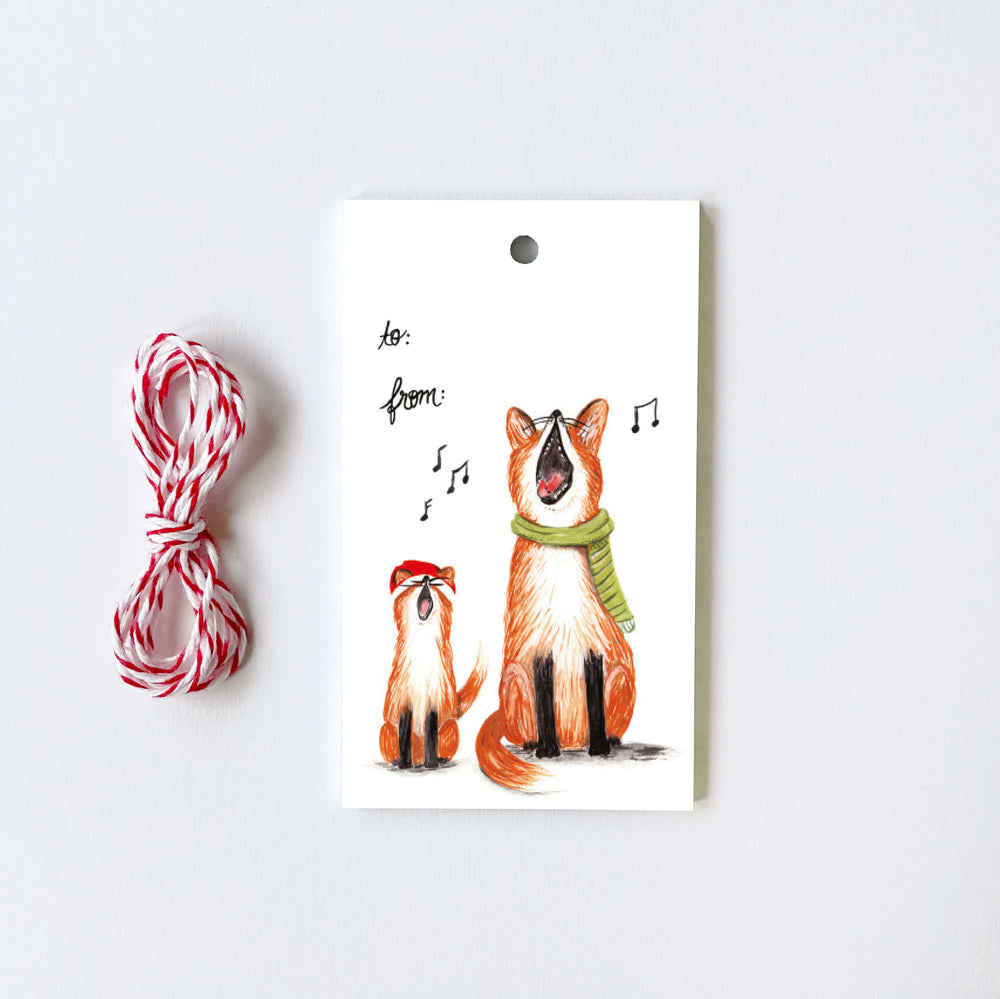 Singing Foxes - 10 Gift Tags