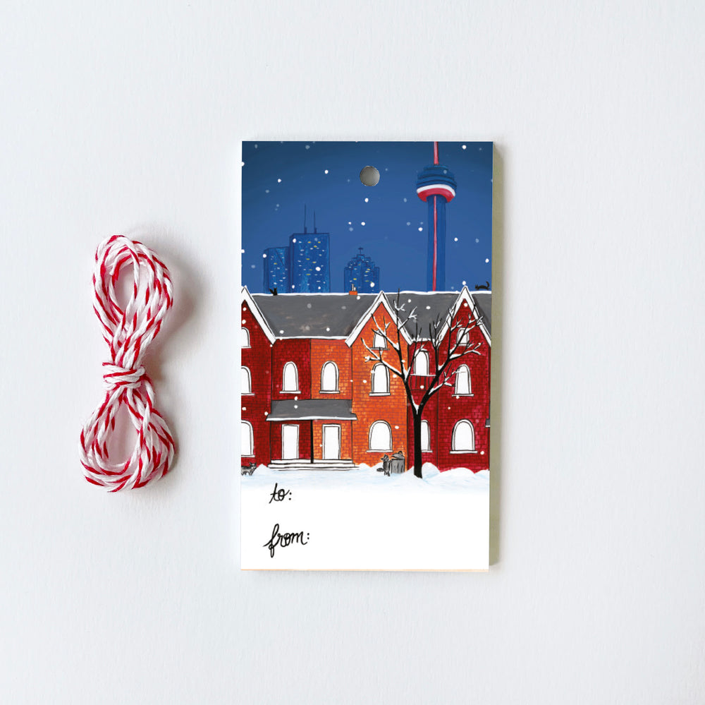 Toronto Snowy Night - 10 Holiday Gift Tags