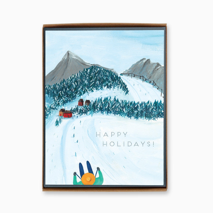 Box of 8 Holiday Skiing Cards