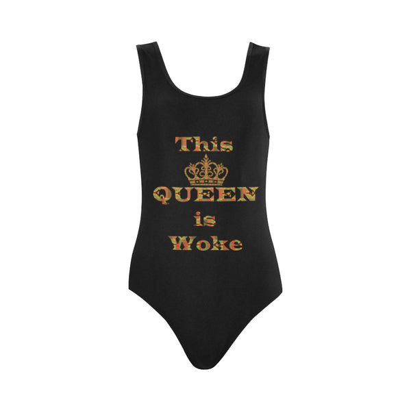 This Queen is Woke One Piece Swimsuit (Model S04)