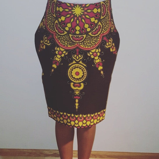 Star African Print Pencil Skirt