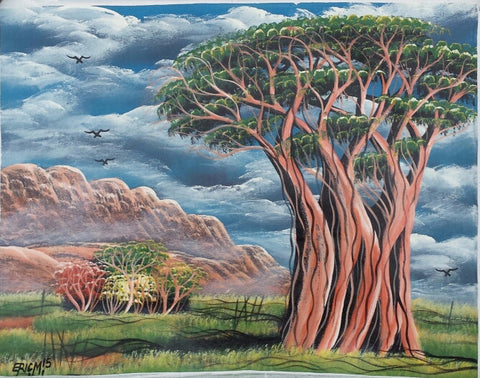 African Tree of Life Original Canvas Painting - Blue Sky