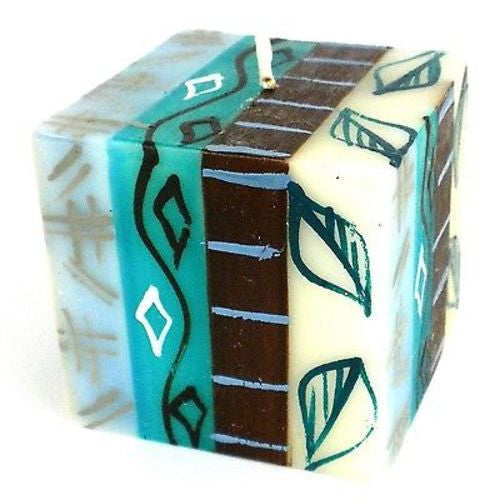 Hand-Painted Cube Candle - Maji Design Handmade and Fair Trade