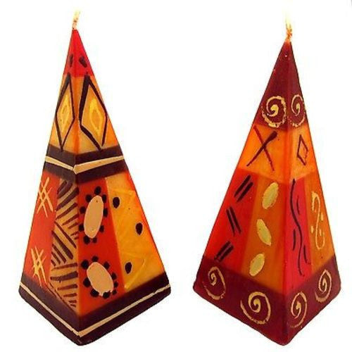 Set of Two Hand-Painted Pyramid Candles - Bongazi Design Handmade and Fair Trade