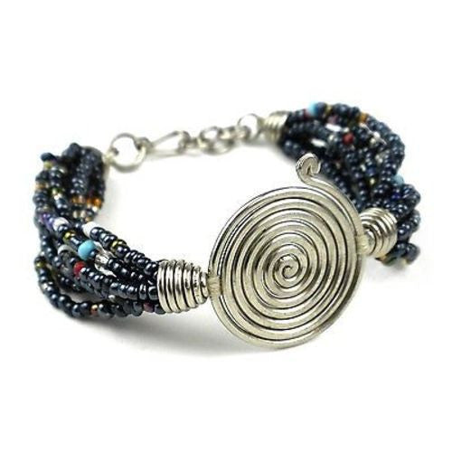 Single Spiral 'Progress' Black Beaded Bracelet Handmade and Fair Trade
