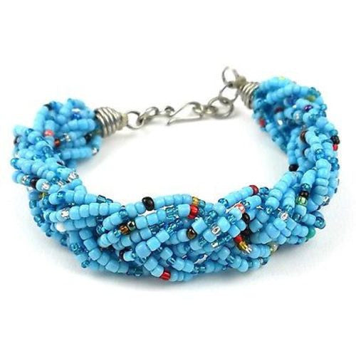 Blue Six Strand Braid Beaded Bracelet Handmade and Fair Trade