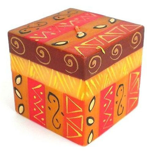 Hand-Painted Cube Candle - Bongazi Design Handmade and Fair Trade