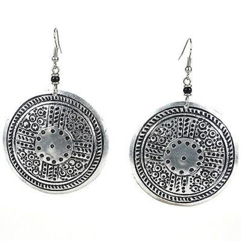Stamped Recycled Cooking Pot 'Medallion' Earrings Handmade and Fair Trade