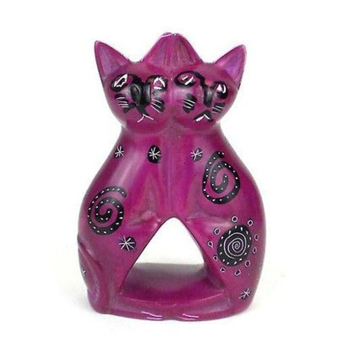 Handcrafted 4-inch Soapstone Love Cats Sculpture in Purple Handmade and Fair Trade