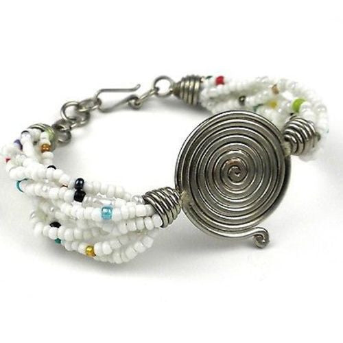 Single Spiral 'Progress' White Beaded Bracelet Handmade and Fair Trade